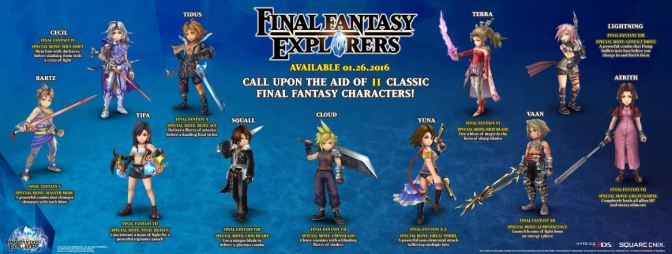 Final Fantasy Explorers Reveals An Infographic Highlighting The Iconic Playable Characters & A New Trailer